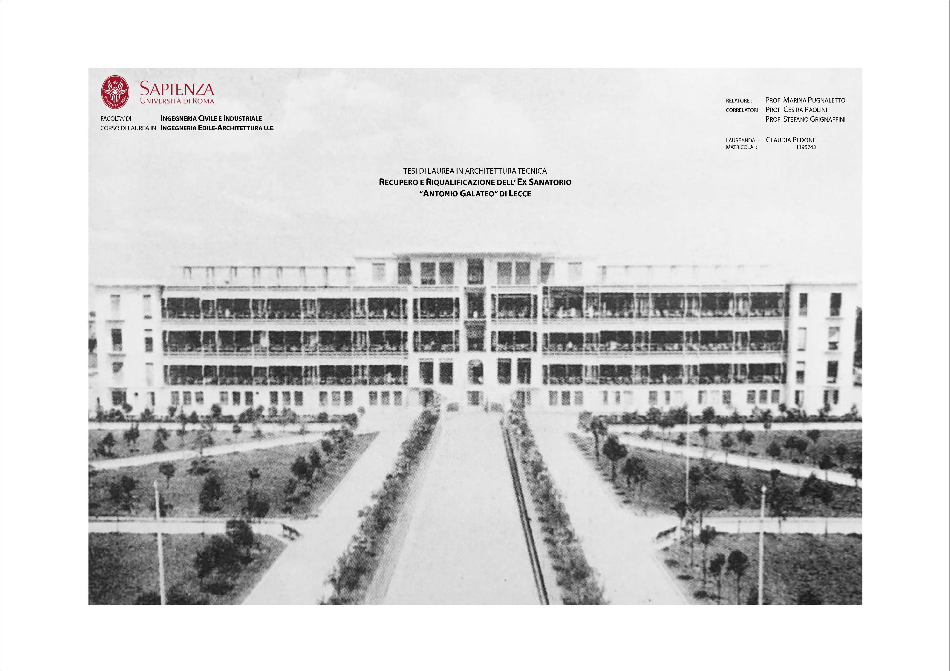 Anteprima della tesi: Recupero e riqualificazione dell'ex Sanatorio Antonio Galateo di Lecce, Pagina 1