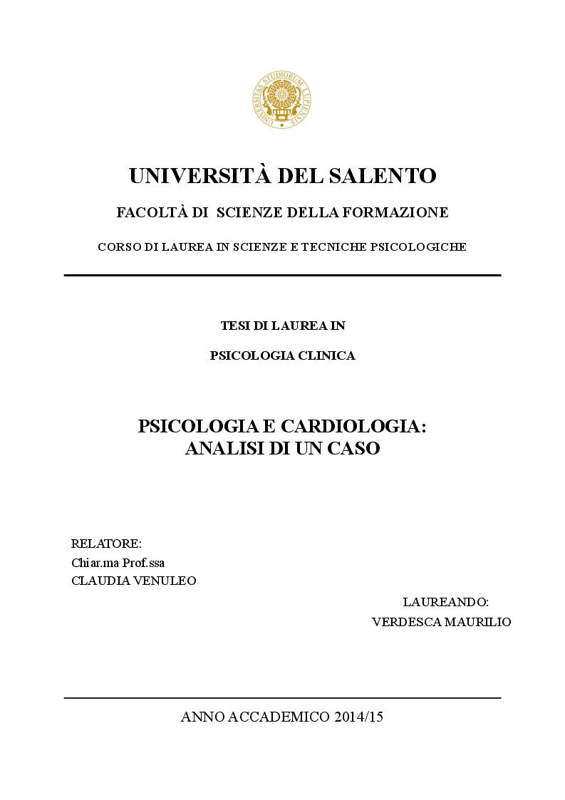 Anteprima della tesi: Psicologia e cardiologia: analisi di un caso, Pagina 1