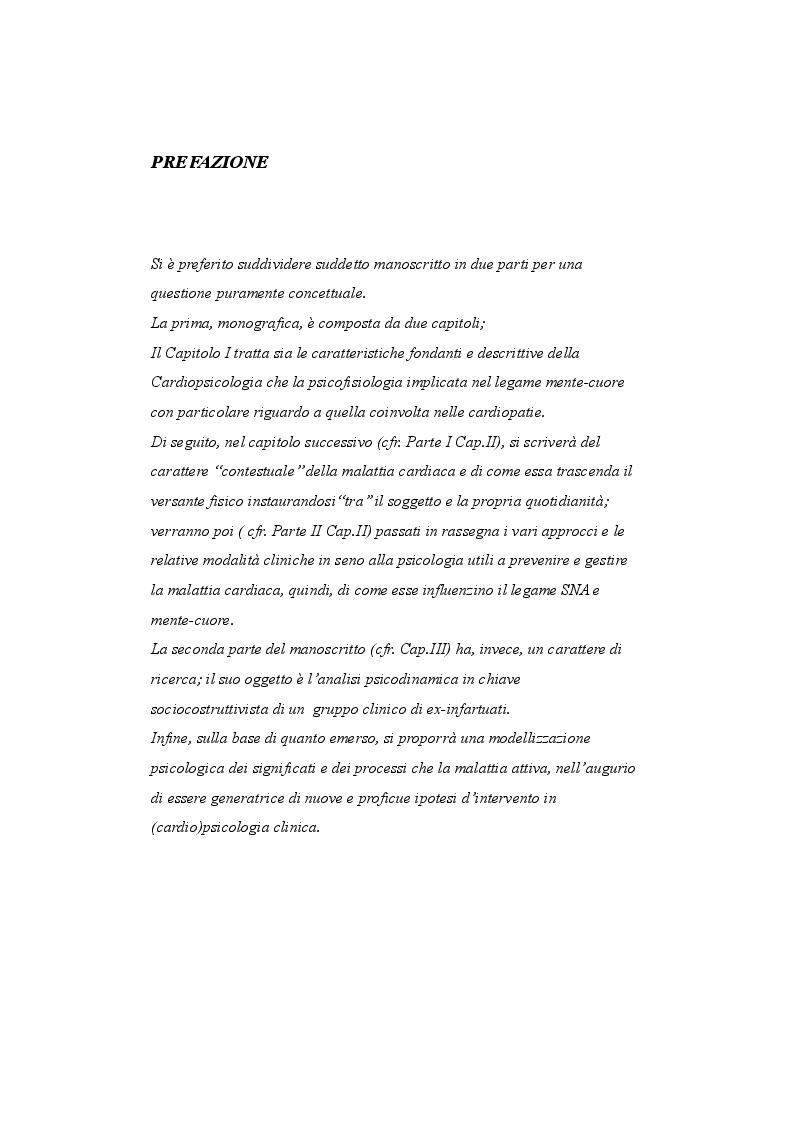 Anteprima della tesi: Psicologia e cardiologia: analisi di un caso, Pagina 2