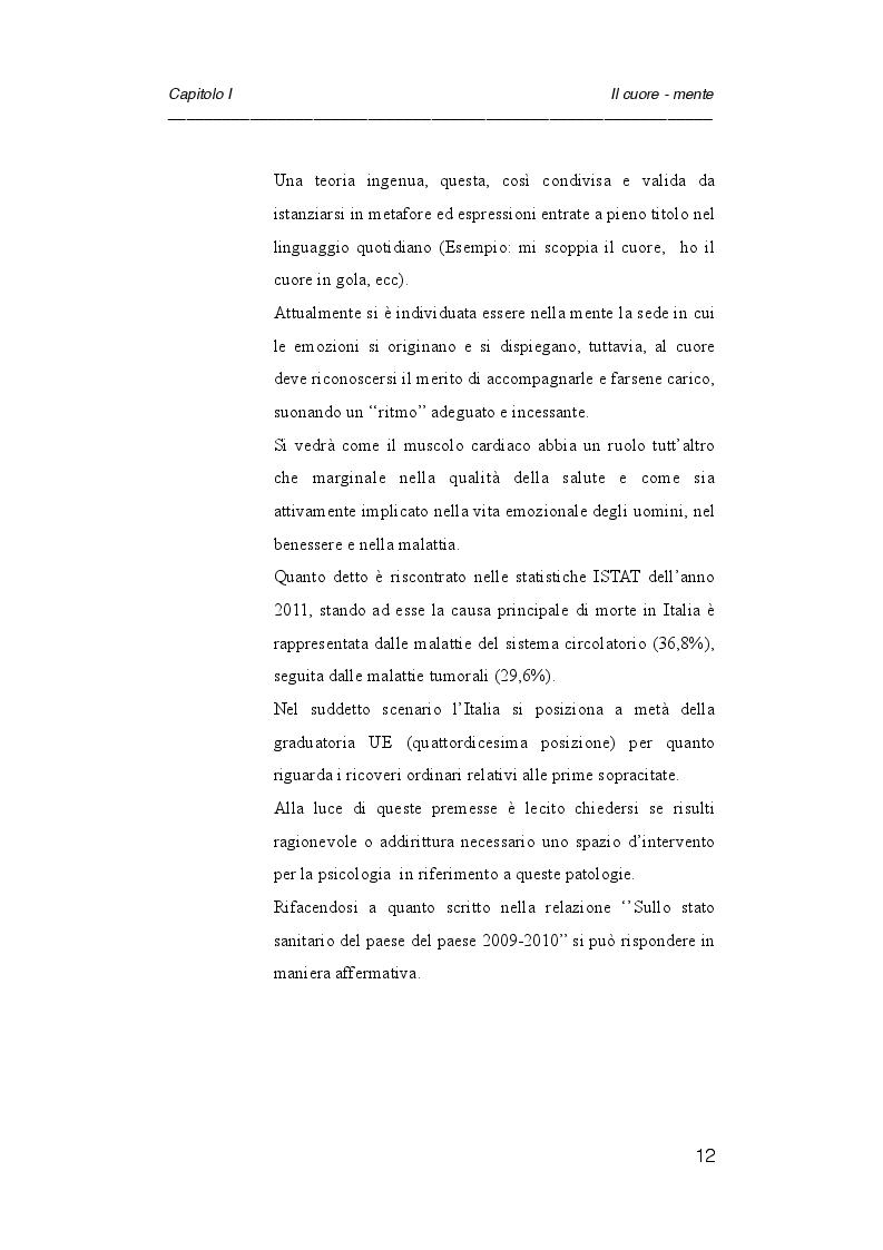 Anteprima della tesi: Psicologia e cardiologia: analisi di un caso, Pagina 5
