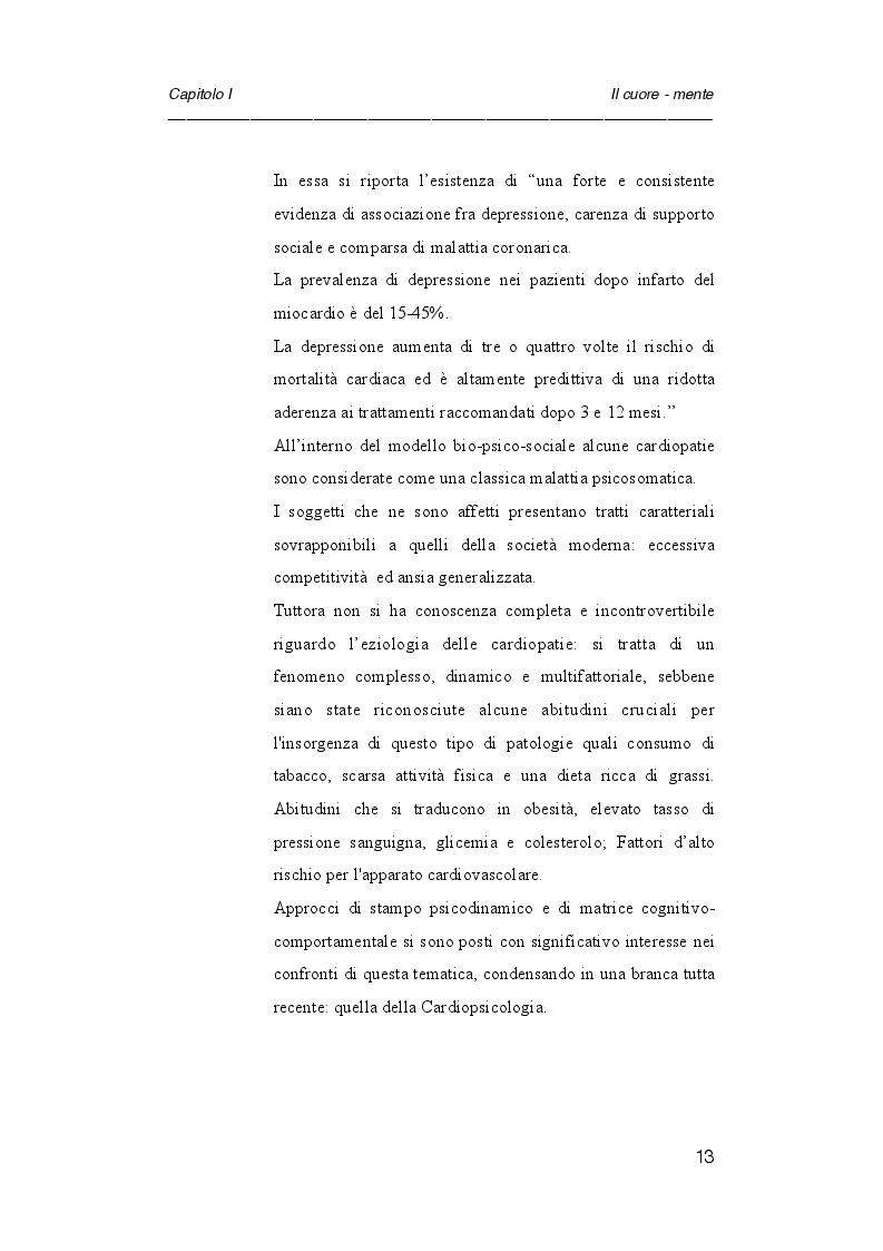 Anteprima della tesi: Psicologia e cardiologia: analisi di un caso, Pagina 6