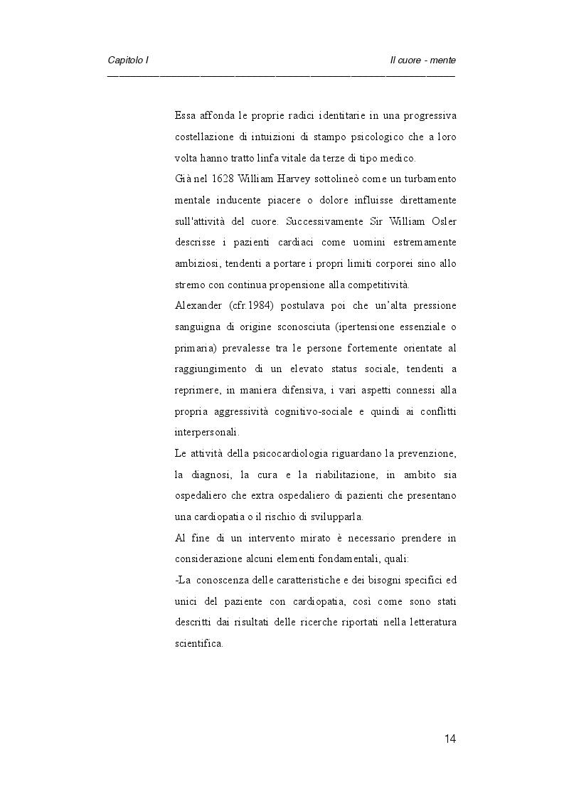 Anteprima della tesi: Psicologia e cardiologia: analisi di un caso, Pagina 7