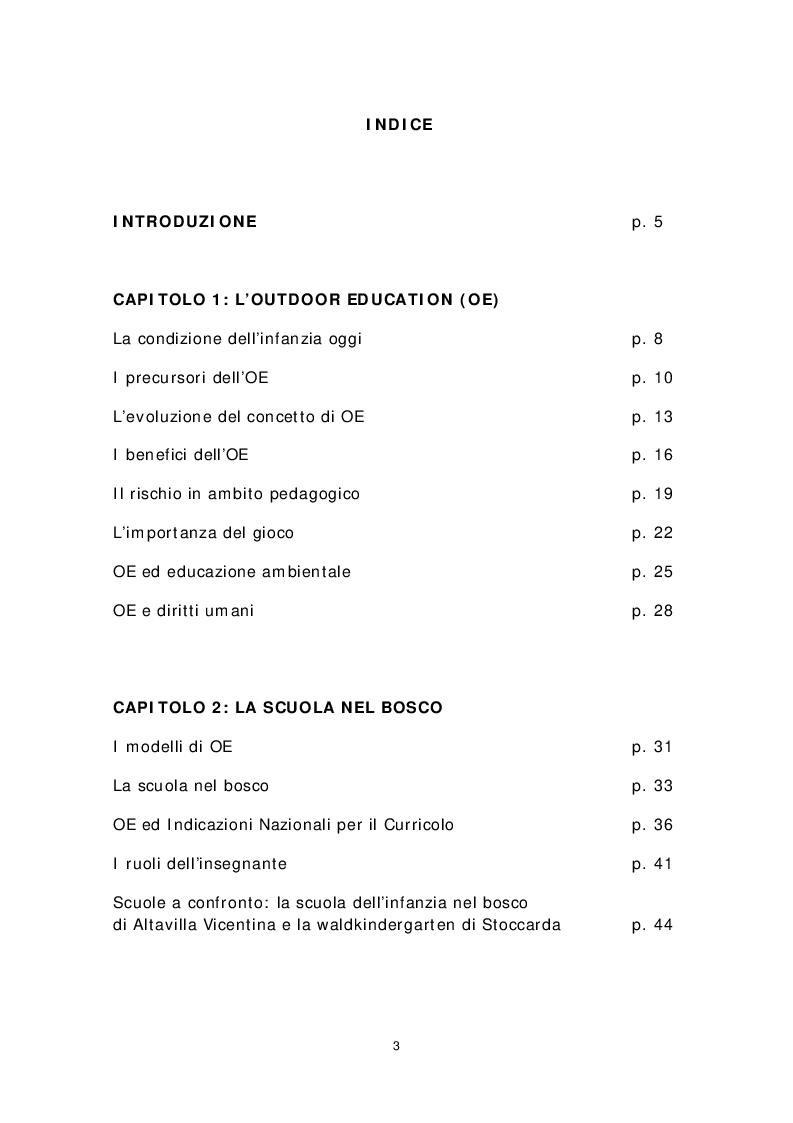 Indice della tesi: Dai banchi ai campi. L'Outdoor Education come esperienza educativa e pratica didattica, Pagina 1