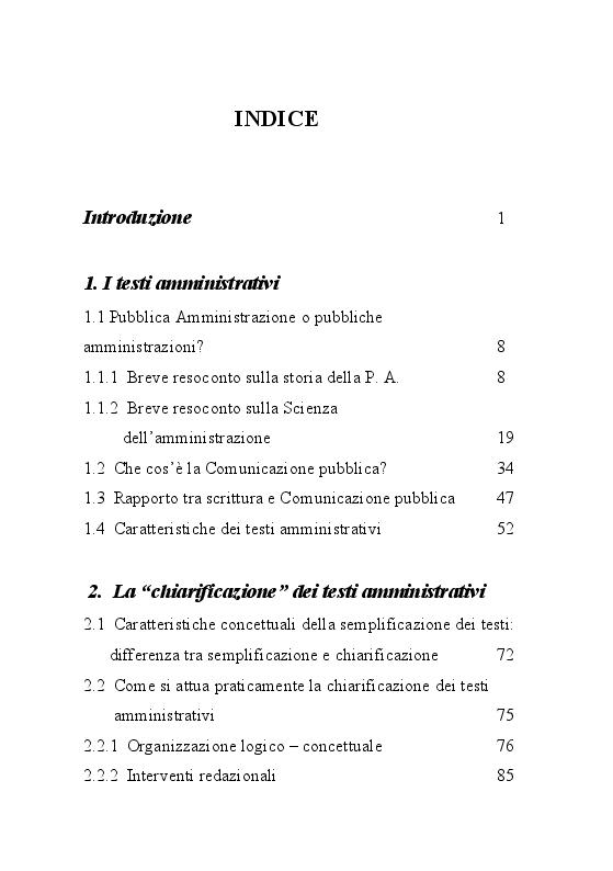 Indice della tesi: Trame burocratiche. Luci ed ombre dei testi amministrativi, Pagina 1