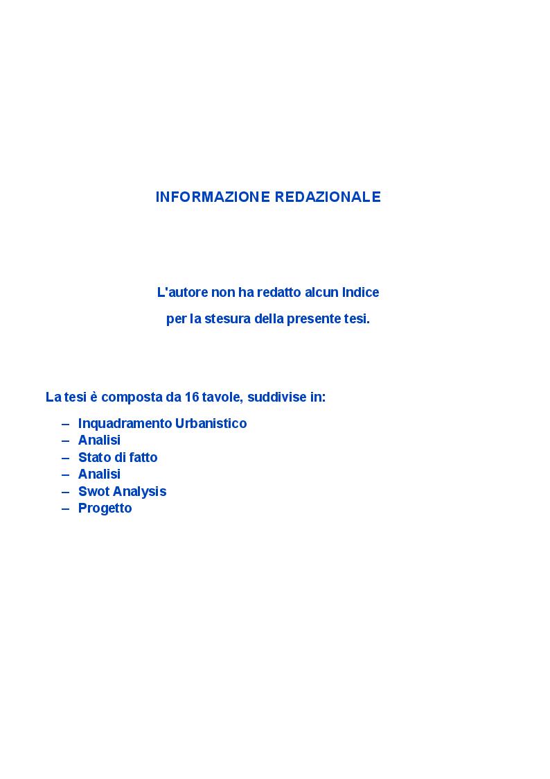 Indice della tesi: Riqualificazione tecnologica ambientale del complesso industriale della fabbrica di penicillina ex LEO in via Tiburtina a Roma, Pagina 1