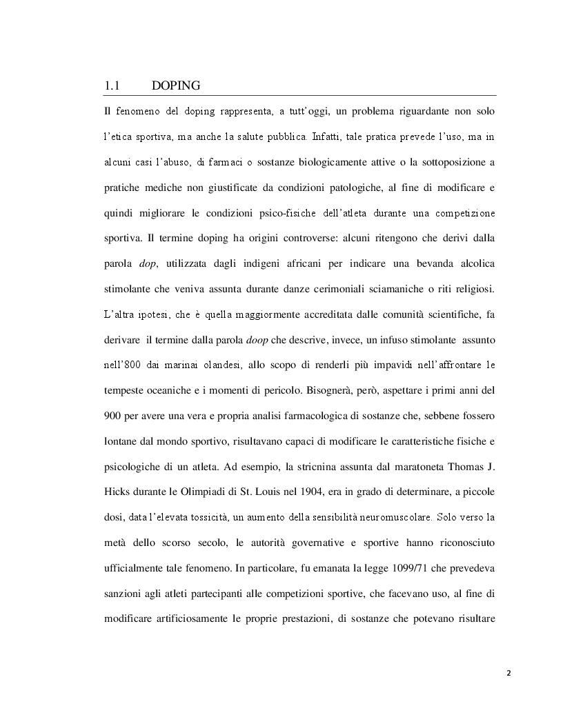 Anteprima della tesi: Doping ed eritropoietina: effetti sull'organismo e rivelazione nei liquidi biologici, Pagina 2