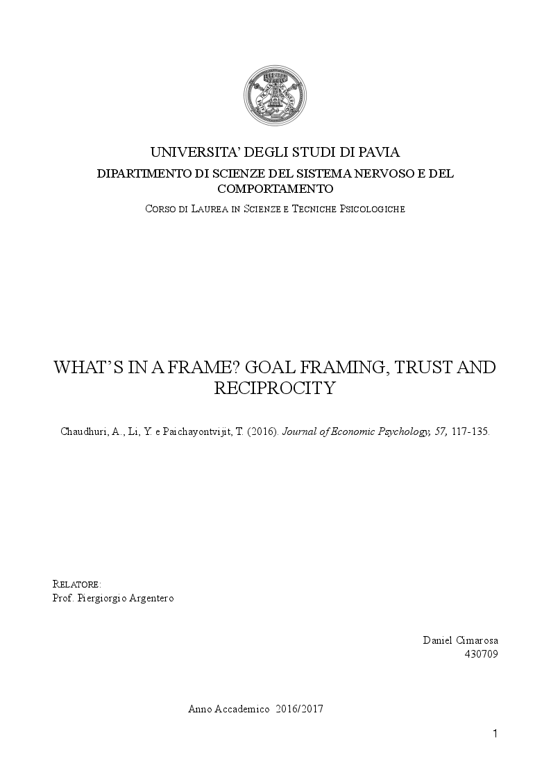 Anteprima della tesi: What's in a frame? Goal framing, trust and reciprocity, Pagina 1