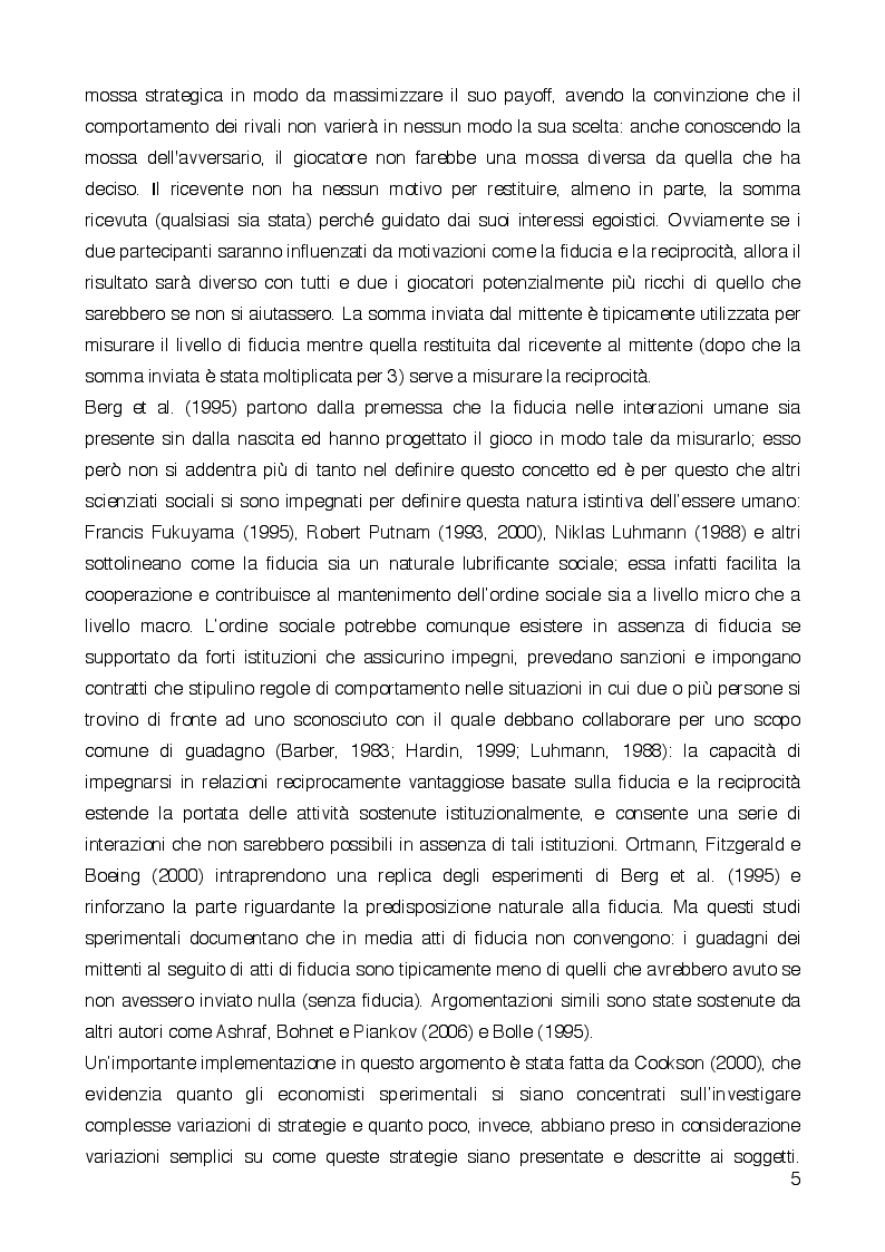 Anteprima della tesi: What's in a frame? Goal framing, trust and reciprocity, Pagina 4