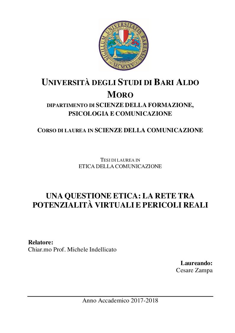 Anteprima della tesi: Una questione etica: la rete tra potenzialità virtuali e pericoli reali, Pagina 1