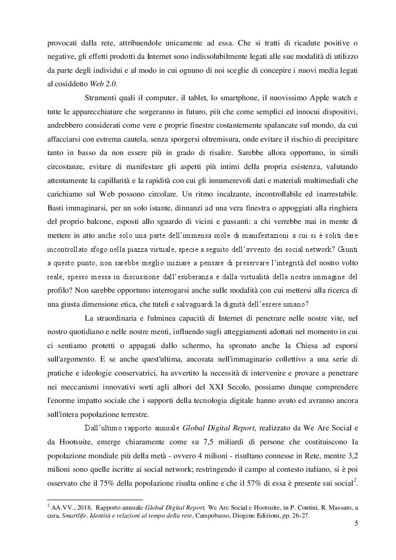 Anteprima della tesi: Una questione etica: la rete tra potenzialità virtuali e pericoli reali, Pagina 4