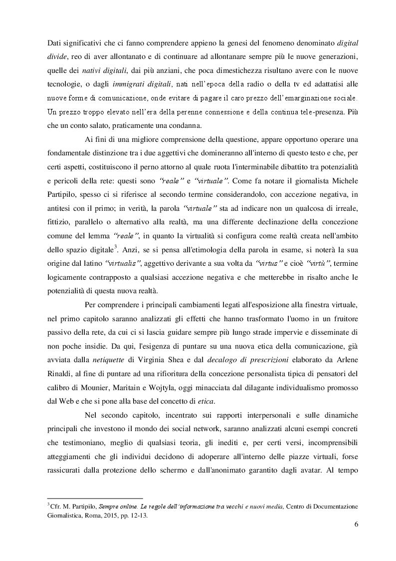 Anteprima della tesi: Una questione etica: la rete tra potenzialità virtuali e pericoli reali, Pagina 5
