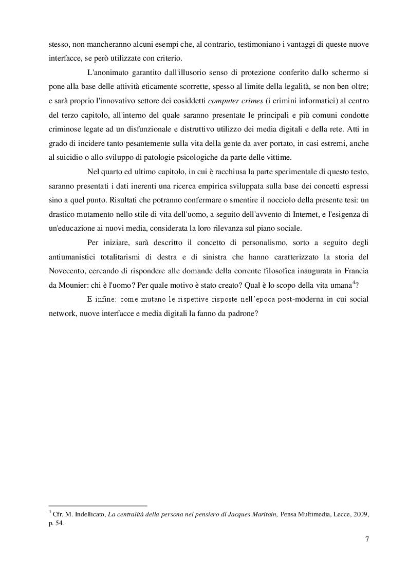 Anteprima della tesi: Una questione etica: la rete tra potenzialità virtuali e pericoli reali, Pagina 6