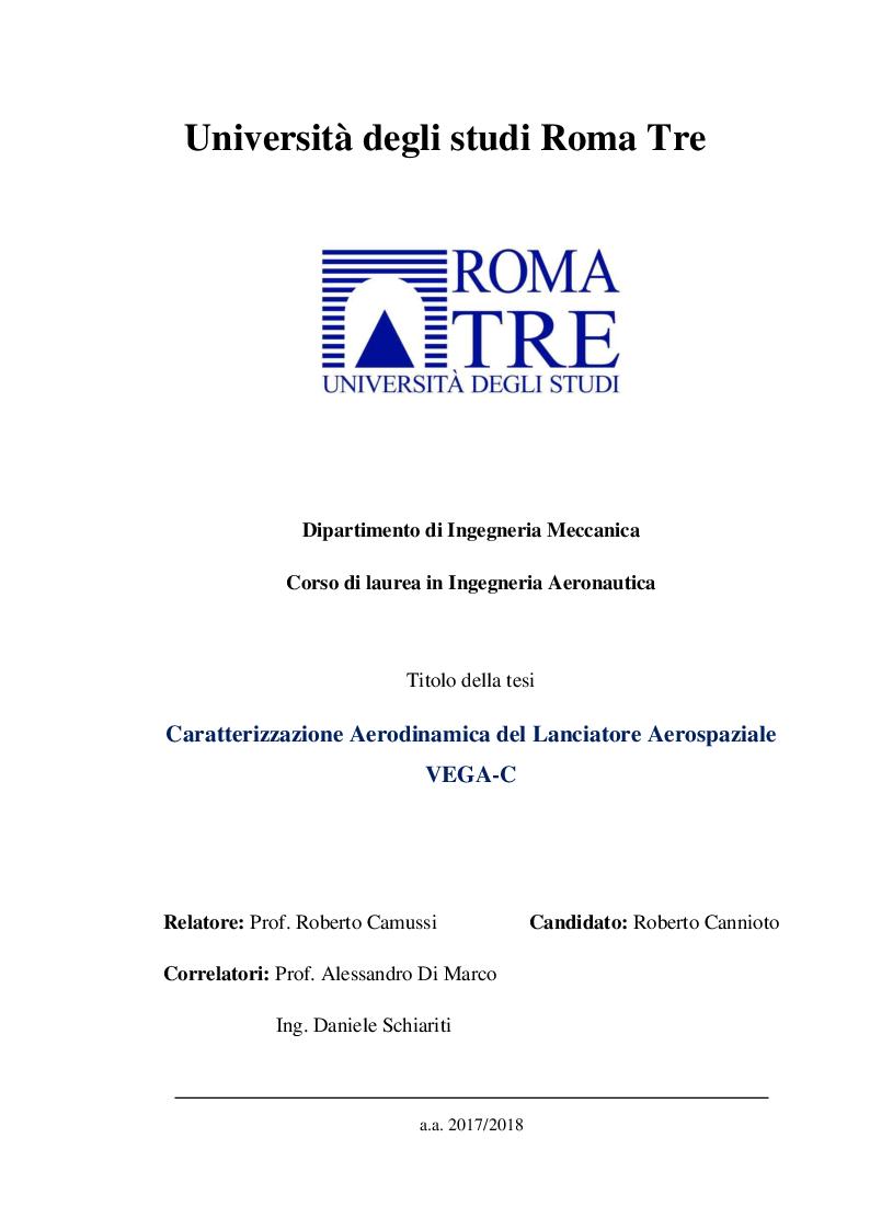 Anteprima della tesi: Caratterizzazione aerodinamica del lanciatore aerospaziale VEGA-C, Pagina 1