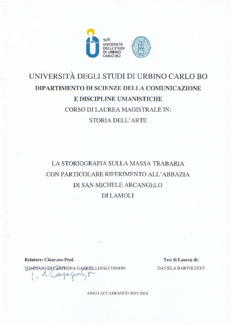 Anteprima della tesi: La Storiografia sulla Massa Trabaria con particolare riferimento dell'Abbazia Benedettina di San Michele Arcangelo di Lamoli, Pagina 1
