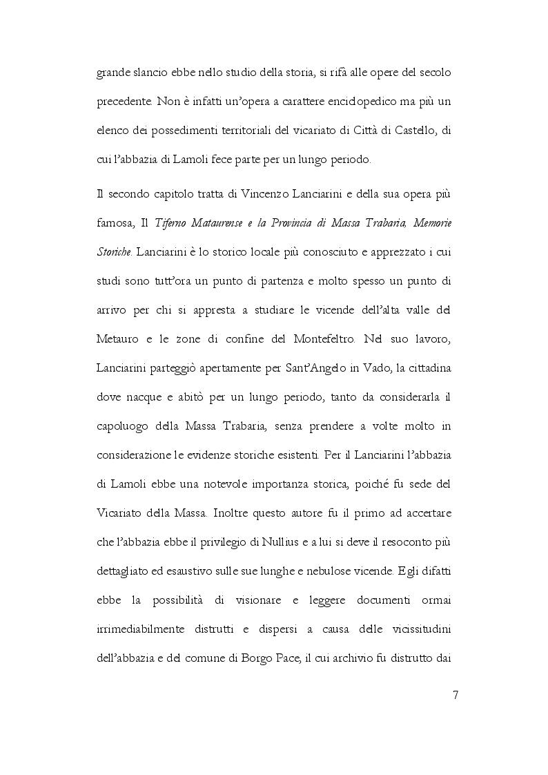 Anteprima della tesi: La Storiografia sulla Massa Trabaria con particolare riferimento dell'Abbazia Benedettina di San Michele Arcangelo di Lamoli, Pagina 4