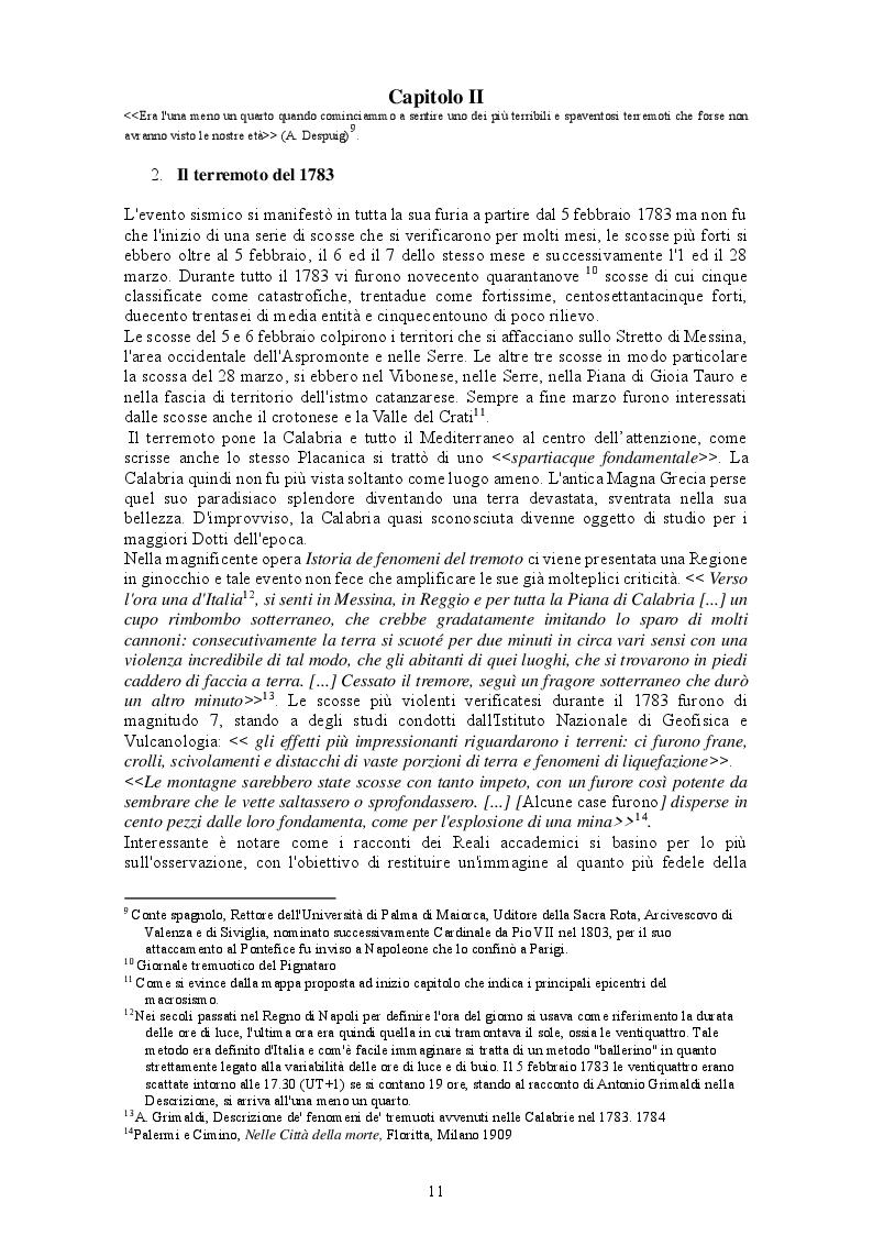 Estratto dalla tesi: Il terremoto in Calabria del 1783. Dalla Catastrofe alla ricostruzione