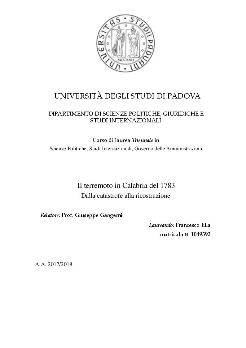 Anteprima della tesi: Il terremoto in Calabria del 1783. Dalla Catastrofe alla ricostruzione, Pagina 1
