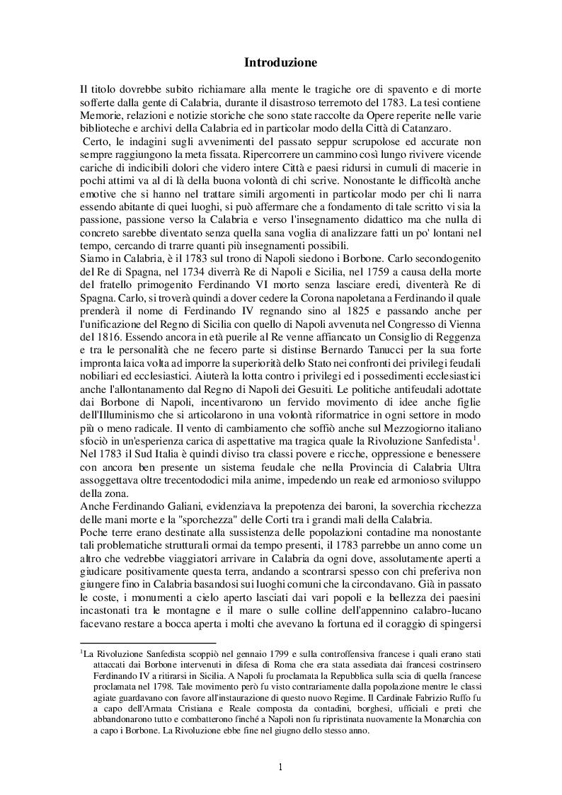 Anteprima della tesi: Il terremoto in Calabria del 1783. Dalla Catastrofe alla ricostruzione, Pagina 2