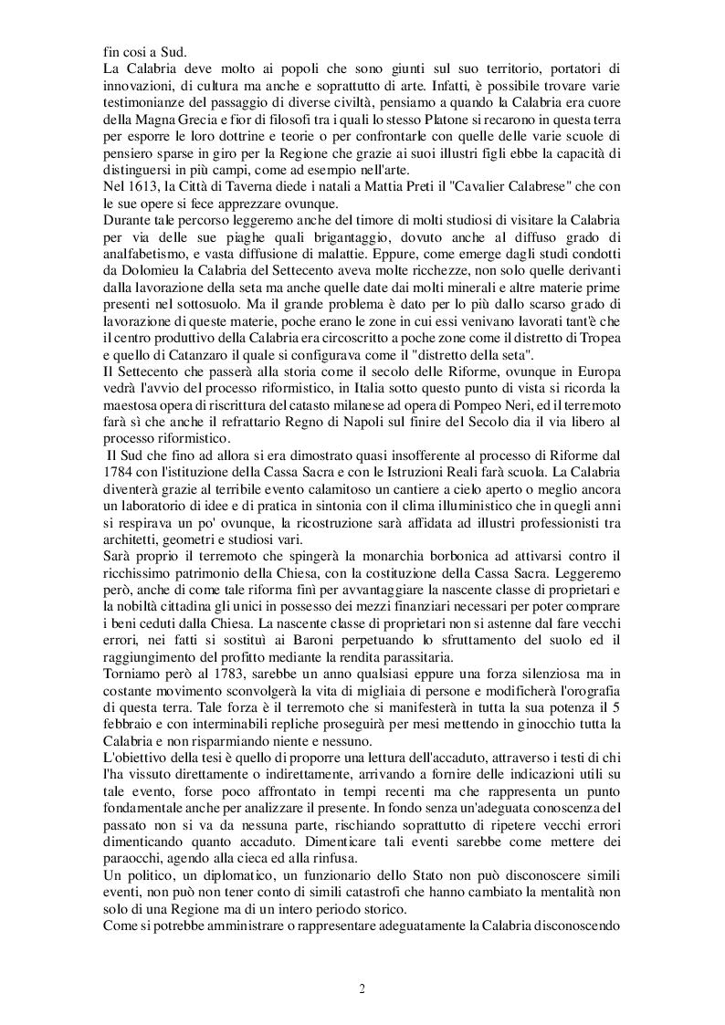 Anteprima della tesi: Il terremoto in Calabria del 1783. Dalla Catastrofe alla ricostruzione, Pagina 3