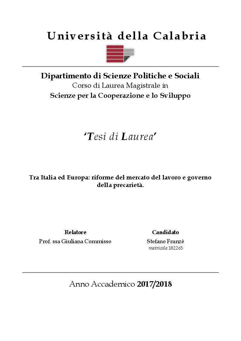 Anteprima della tesi: Tra Italia ed Europa: riforme del mercato del lavoro e governo della precarietà, Pagina 1
