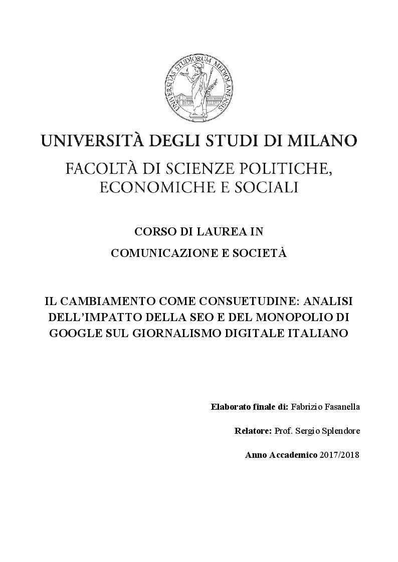 Anteprima della tesi: Il cambiamento come consuetudine: analisi dell'impatto della SEO e del monopolio di Google sul giornalismo digitale italiano, Pagina 1