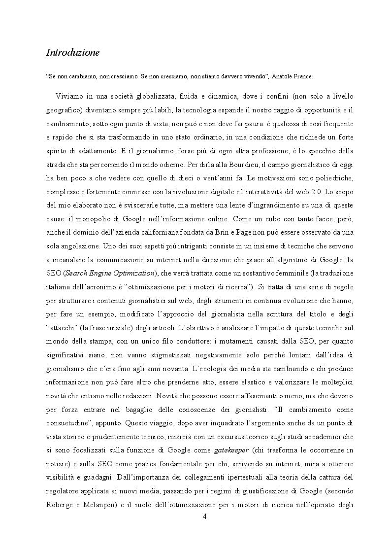 Anteprima della tesi: Il cambiamento come consuetudine: analisi dell'impatto della SEO e del monopolio di Google sul giornalismo digitale italiano, Pagina 2