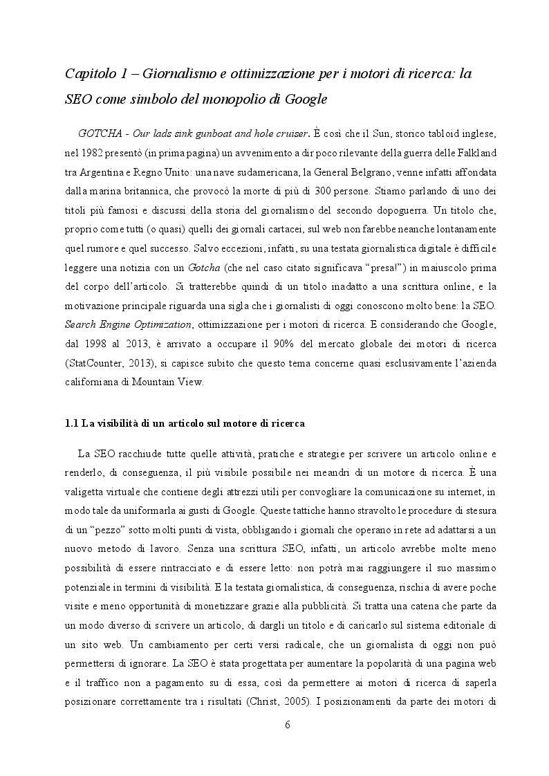 Anteprima della tesi: Il cambiamento come consuetudine: analisi dell'impatto della SEO e del monopolio di Google sul giornalismo digitale italiano, Pagina 4