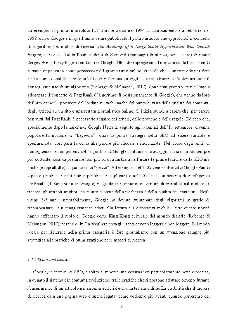 Anteprima della tesi: Il cambiamento come consuetudine: analisi dell'impatto della SEO e del monopolio di Google sul giornalismo digitale italiano, Pagina 6
