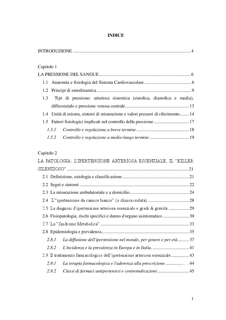 Indice della tesi: L'attività fisica come prevenzione primaria dell'ipertensione arteriosa essenziale, Pagina 1