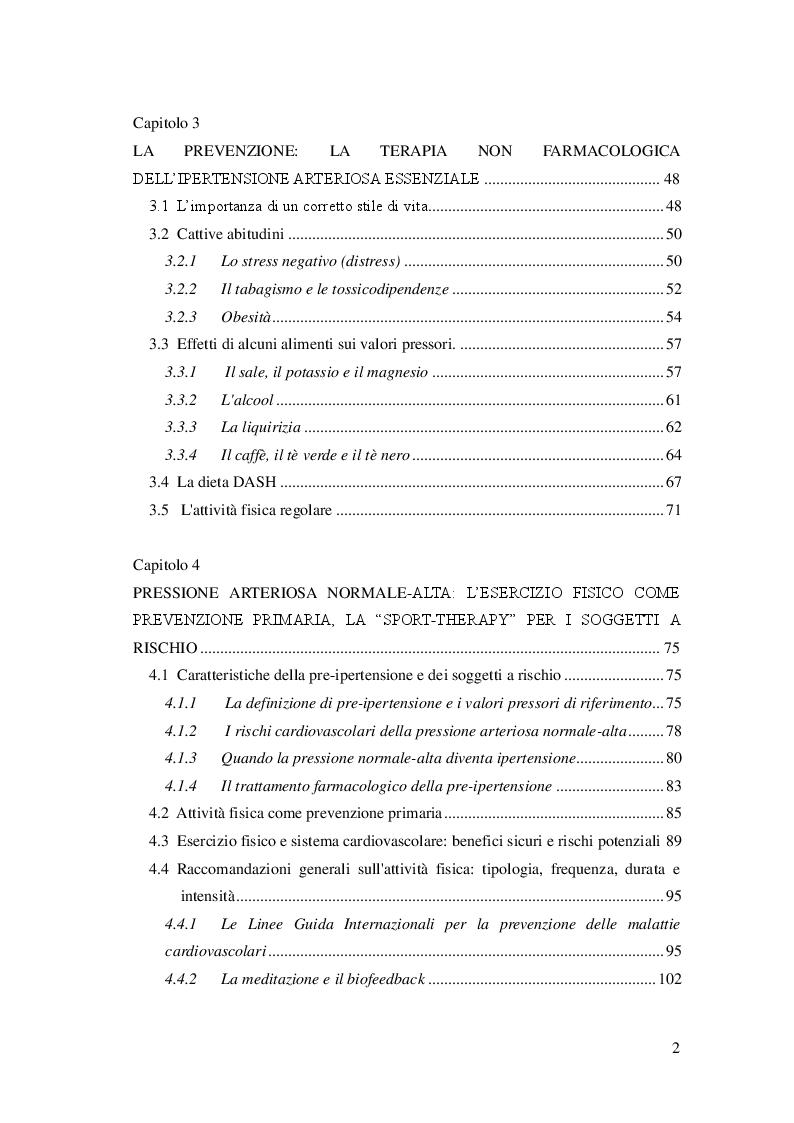 Indice della tesi: L'attività fisica come prevenzione primaria dell'ipertensione arteriosa essenziale, Pagina 2