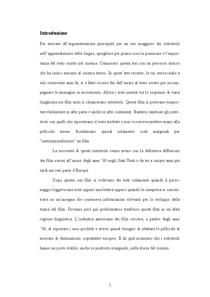 Anteprima della tesi: I film sottotitolati nello studio linguistico, per l'acquisizione di un linguaggio autentico, Pagina 2