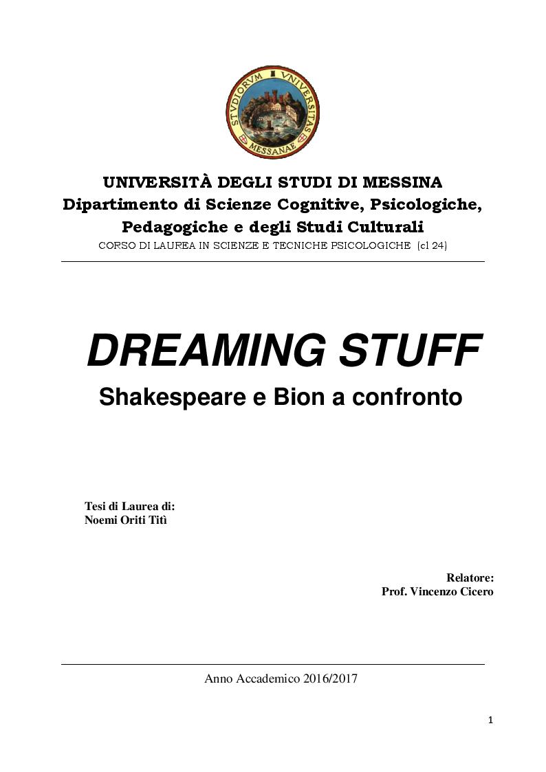 Anteprima della tesi: DREAMING STUFF: Shakespeare e Bion a confronto, Pagina 1