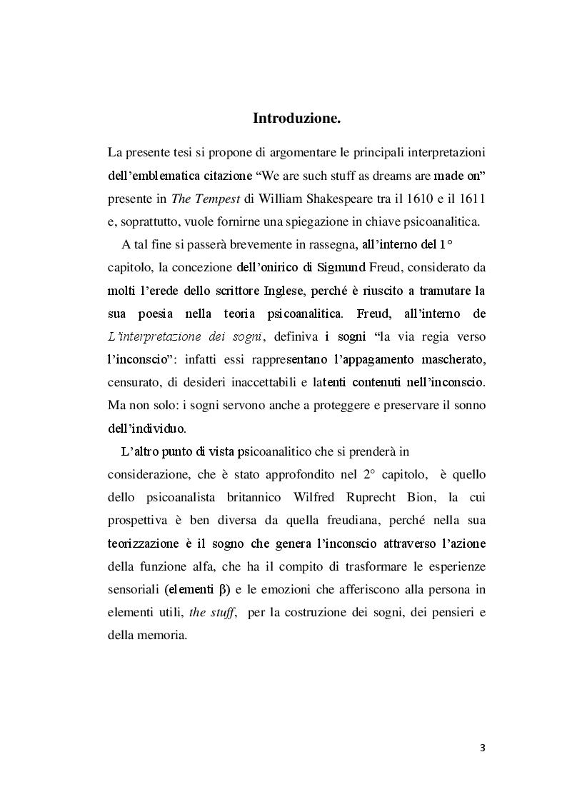 Anteprima della tesi: DREAMING STUFF: Shakespeare e Bion a confronto, Pagina 2