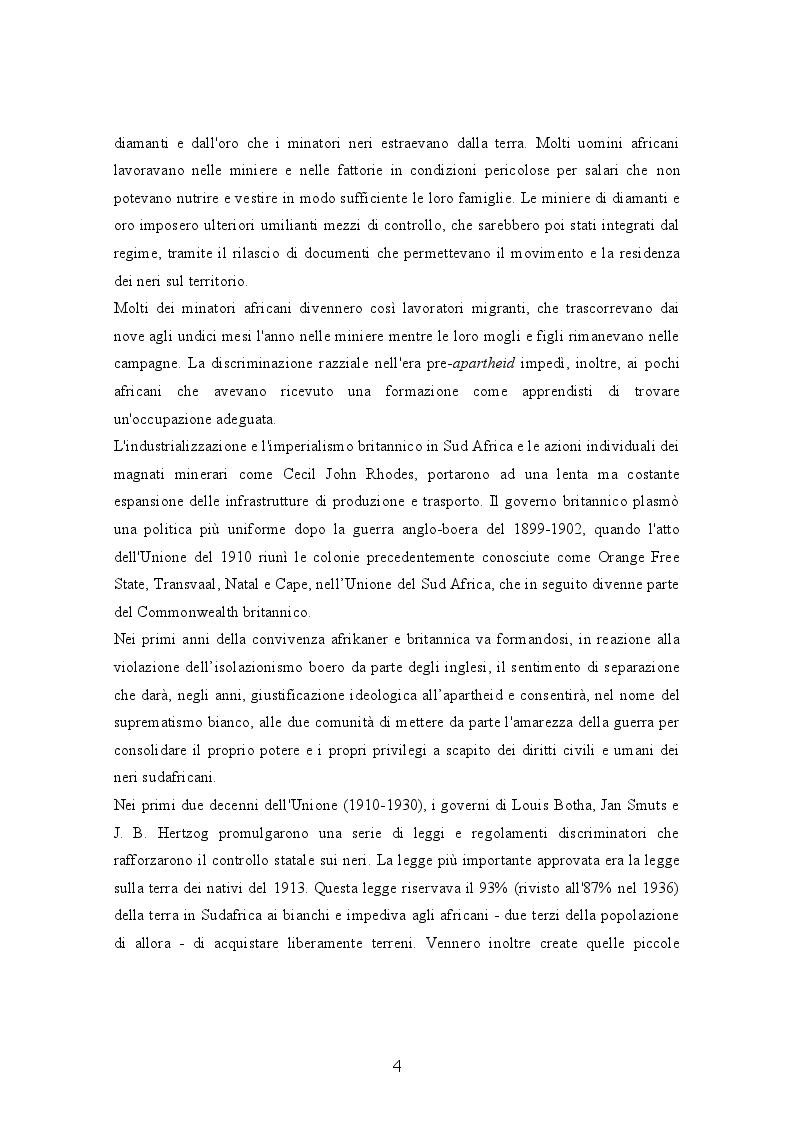 Anteprima della tesi: Il Sudafrica dall'apartheid alla costruzione dello Stato democratico, Pagina 4