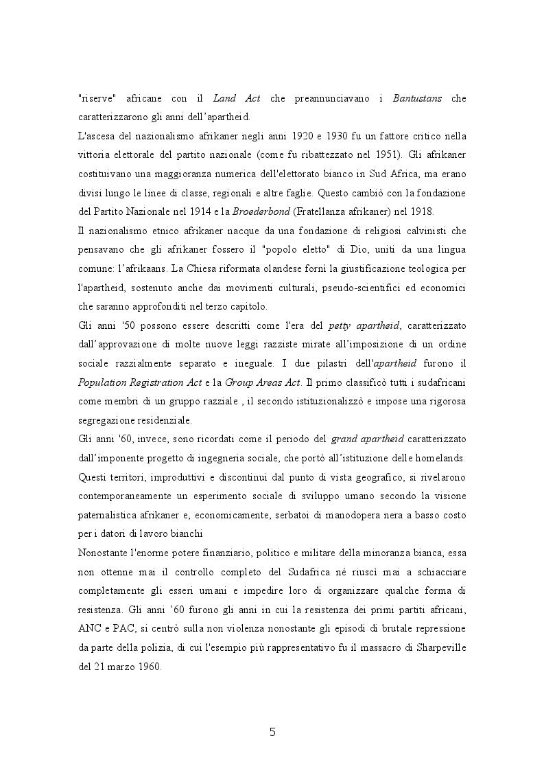Anteprima della tesi: Il Sudafrica dall'apartheid alla costruzione dello Stato democratico, Pagina 5