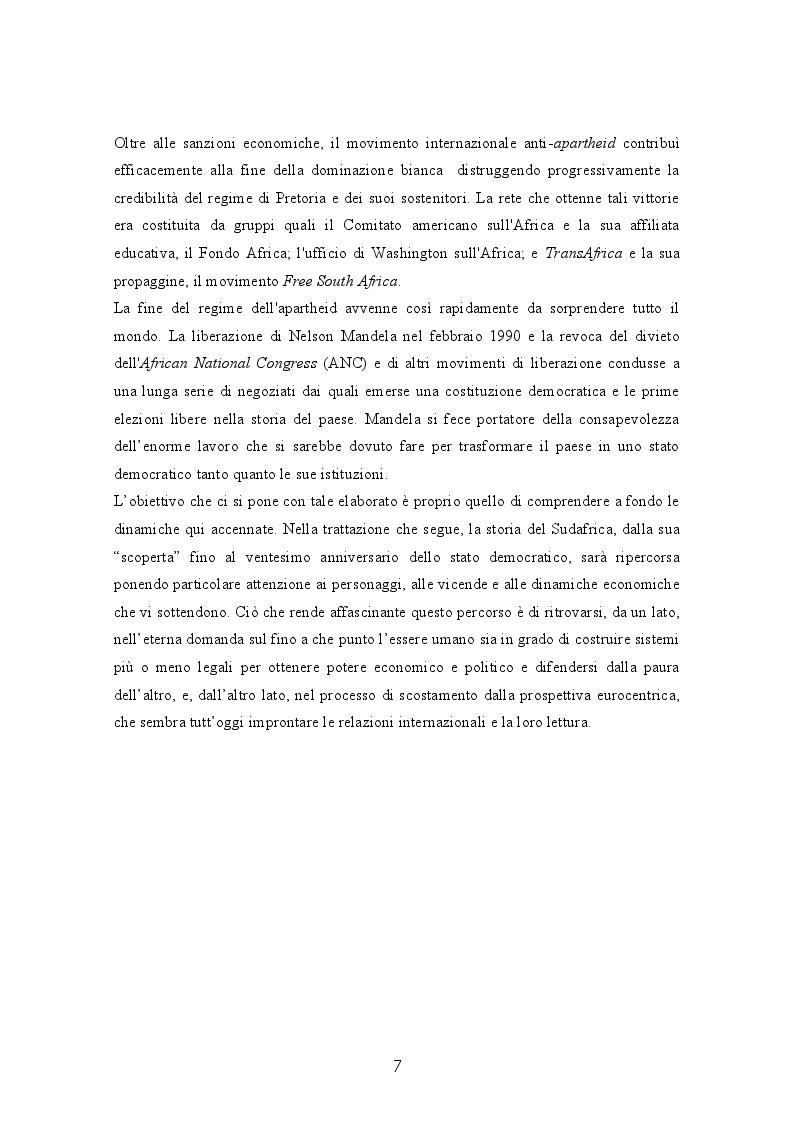 Anteprima della tesi: Il Sudafrica dall'apartheid alla costruzione dello Stato democratico, Pagina 7