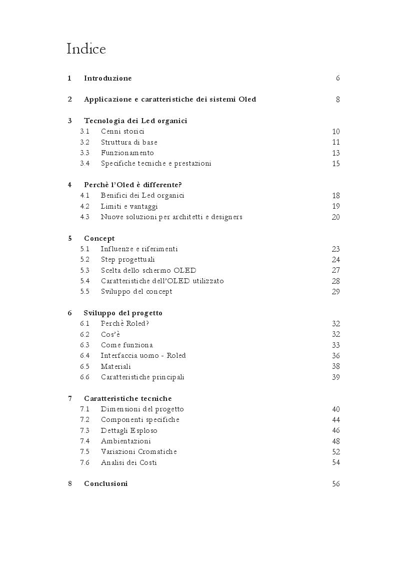 Indice della tesi: Roled. Sviluppo di un dispositivo Oled per la creazione di luce ausiliaria e d'emergenza adattabile, Pagina 1