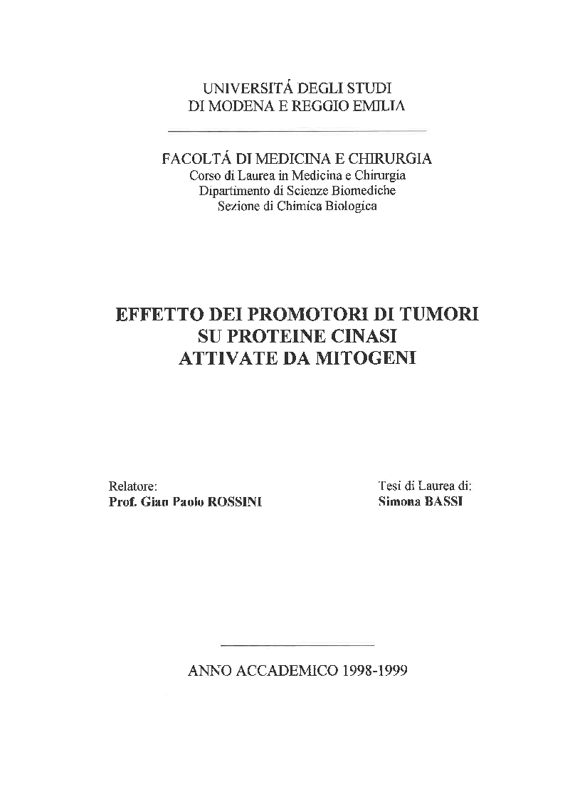 Anteprima della tesi: Effetto dei promotori di tumori su proteine cinasi attivate da mitogeni, Pagina 1