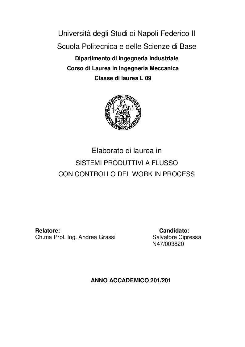 Anteprima della tesi: Sistemi produttivi a flusso con controllo del work in process, Pagina 1