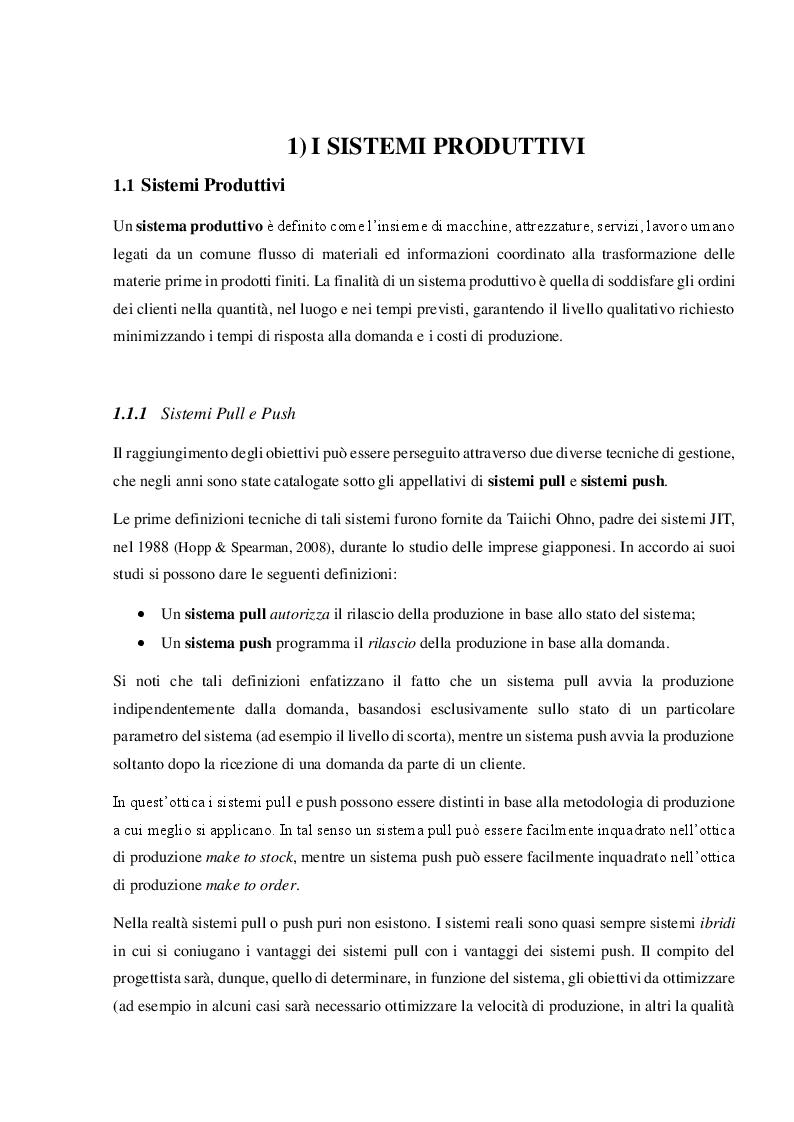 Anteprima della tesi: Sistemi produttivi a flusso con controllo del work in process, Pagina 2