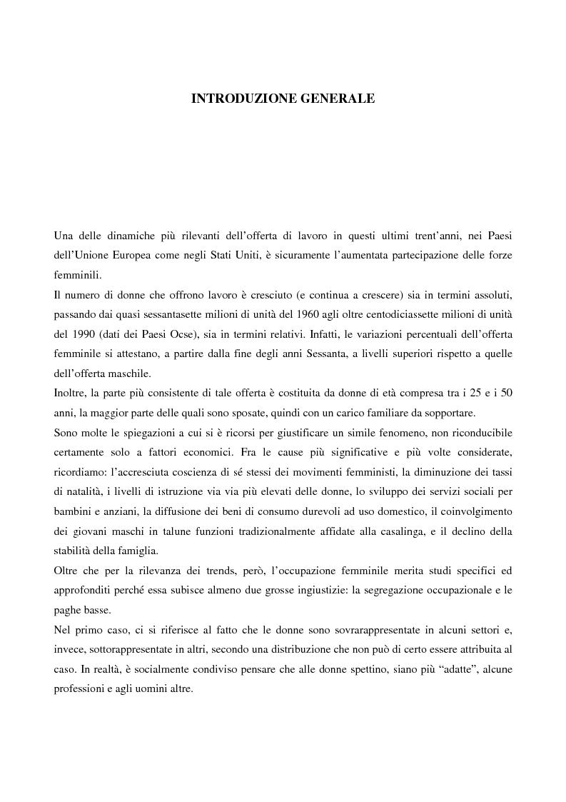 Anteprima della tesi: L'evoluzione del lavoro femminile e il ruolo delle iniziative di pari opportunità, Pagina 1