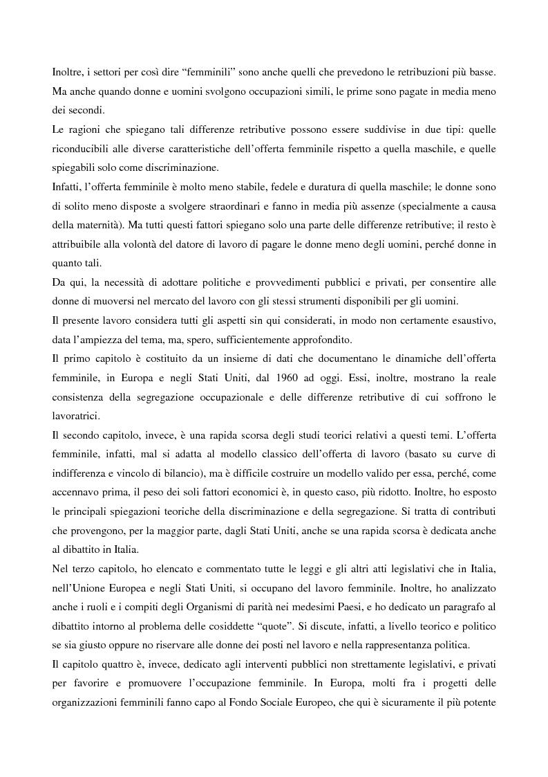 Anteprima della tesi: L'evoluzione del lavoro femminile e il ruolo delle iniziative di pari opportunità, Pagina 2
