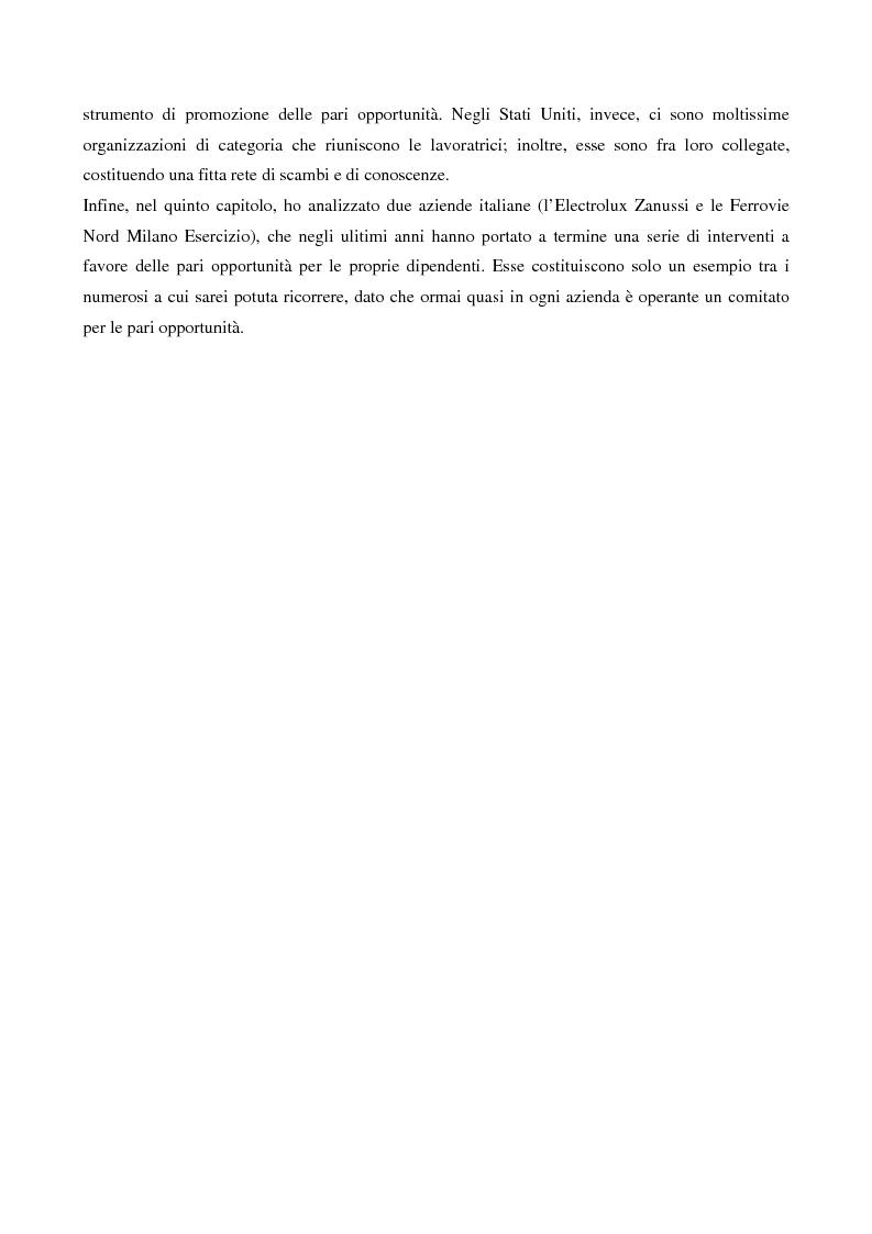 Anteprima della tesi: L'evoluzione del lavoro femminile e il ruolo delle iniziative di pari opportunità, Pagina 3