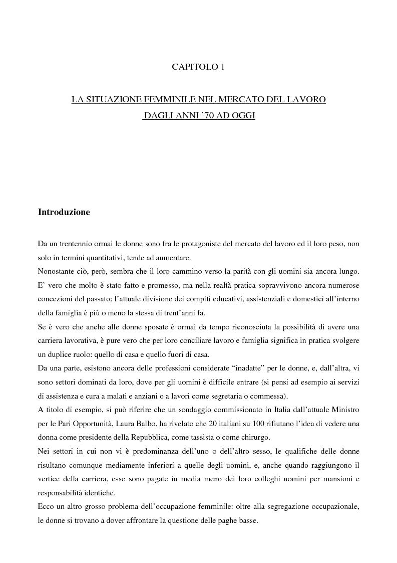 Anteprima della tesi: L'evoluzione del lavoro femminile e il ruolo delle iniziative di pari opportunità, Pagina 4