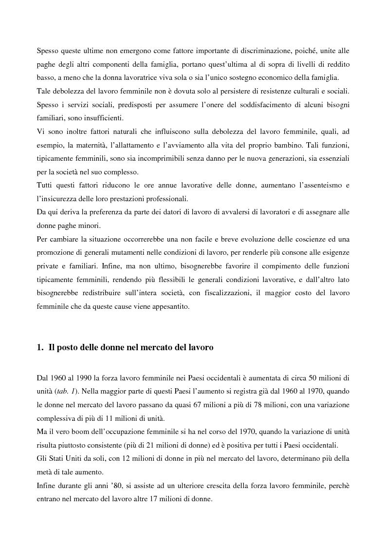 Anteprima della tesi: L'evoluzione del lavoro femminile e il ruolo delle iniziative di pari opportunità, Pagina 5