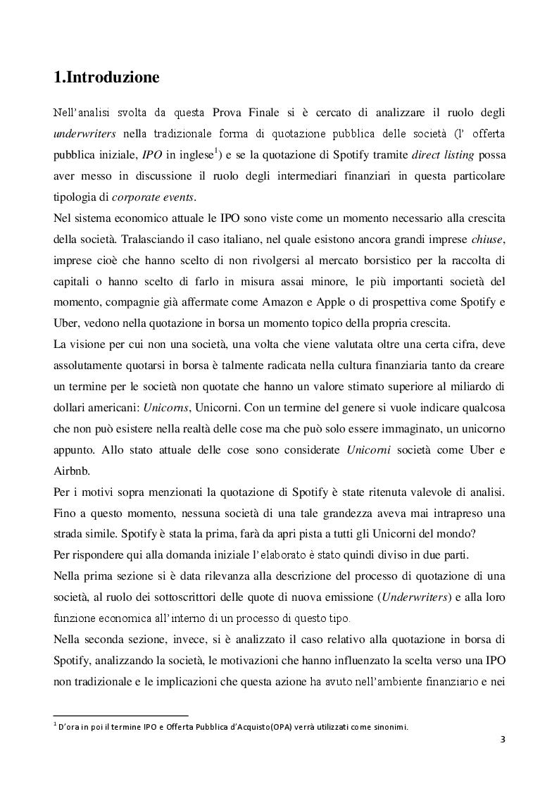 Anteprima della tesi: Il ruolo degli underwriters nelle IPO: Il caso Spotify, Pagina 2