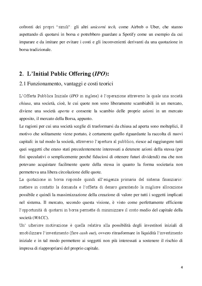 Anteprima della tesi: Il ruolo degli underwriters nelle IPO: Il caso Spotify, Pagina 3