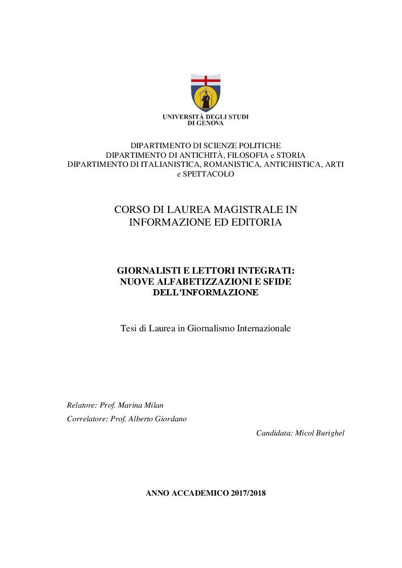Anteprima della tesi: Giornalisti e lettori integrati: nuove alfabetizzazioni e sfide dell'informazione, Pagina 1