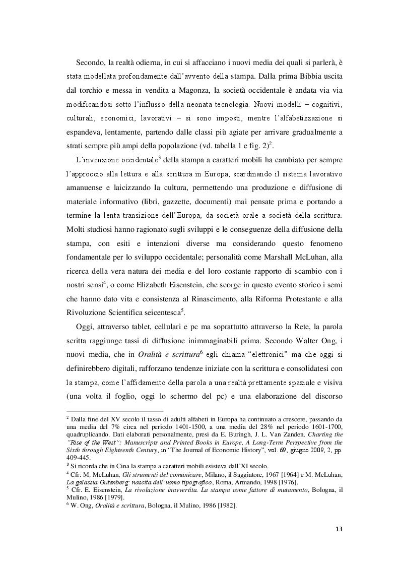 Anteprima della tesi: Giornalisti e lettori integrati: nuove alfabetizzazioni e sfide dell'informazione, Pagina 9