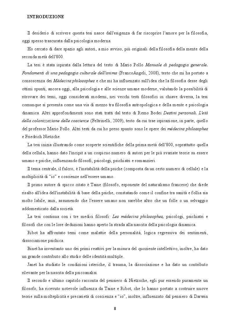 Anteprima della tesi: L'arcipelago delle coscienze. Dissociazione in psicologia filosofica, Pagina 2